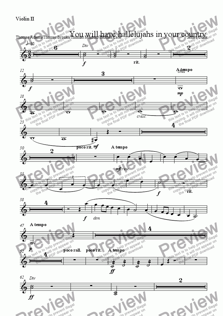 page one of the Violin II part from You will have hallelujahs in your country