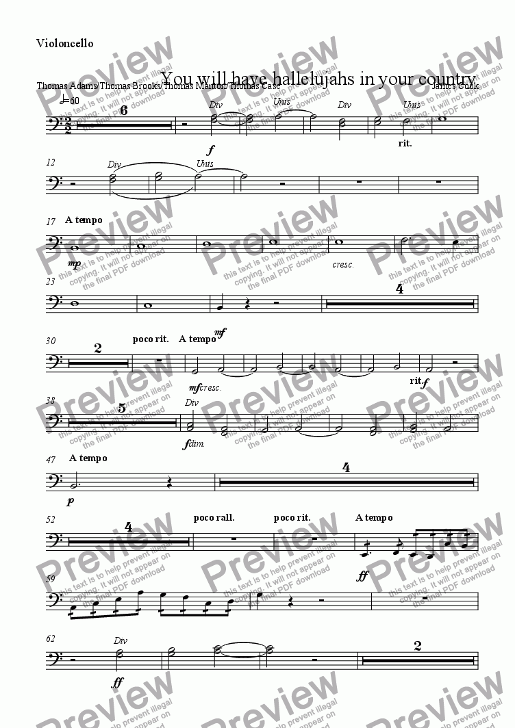 page one of the Violoncello part from You will have hallelujahs in your country