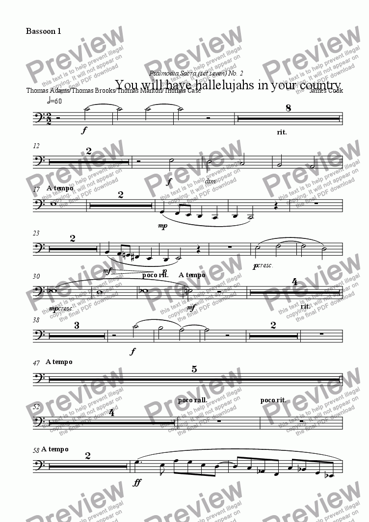 page one of the Bassoon 1 part from You will have hallelujahs in your country