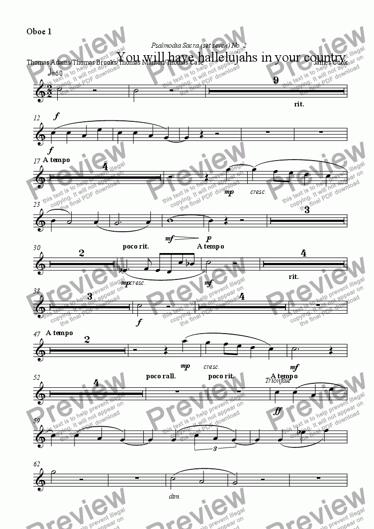page one of the Oboe 1 part from You will have hallelujahs in your country