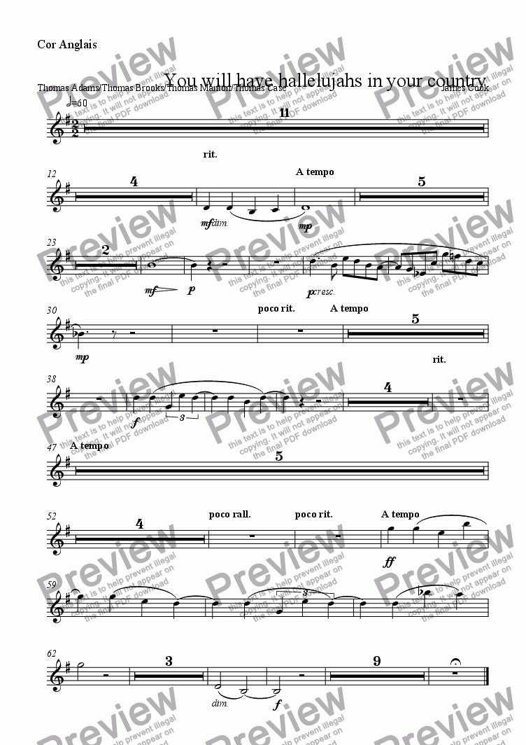 page one of the Cor Anglais part from You will have hallelujahs in your country