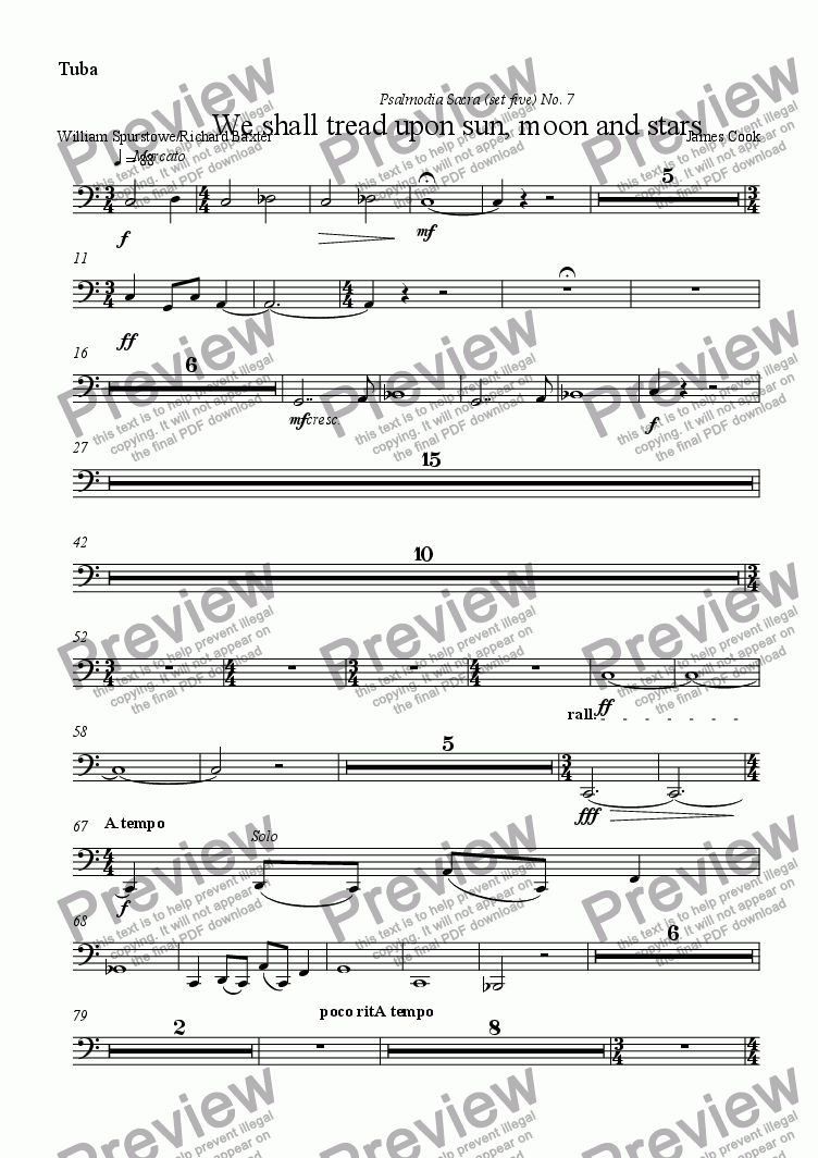 page one of the Tuba part from We shall tread upon sun, moon and stars