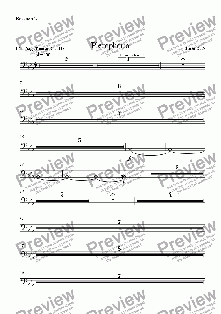 page one of the Bassoon 2 part from Plerophoria