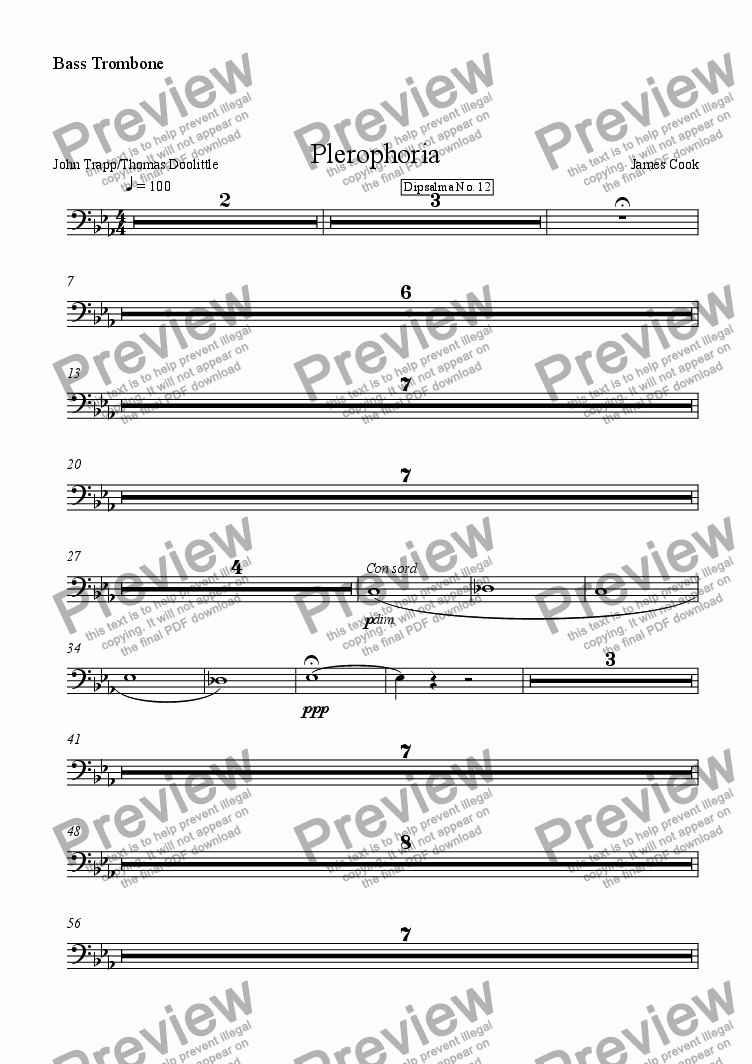 page one of the Bass Trombone part from Plerophoria