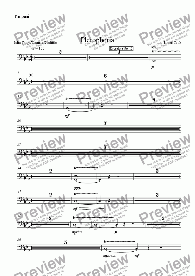 page one of the Timpani part from Plerophoria