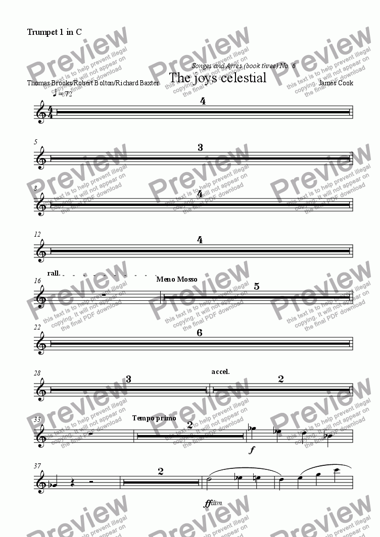 page one of the Trumpet 1 in C part from The joys celestial