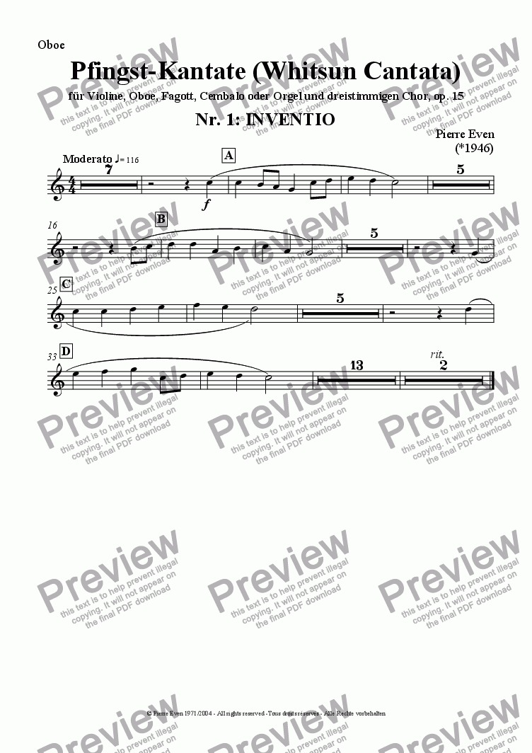 page one of the Oboe part from Inventio - for Violin, Oboe, Bassoon and Harpsichord/Organ, from the Whitsun Cantata op. 15, Nr. 1