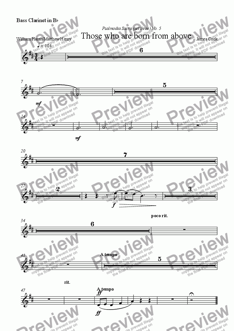page one of the Bass Clarinet in B^b part from Those who are born from above