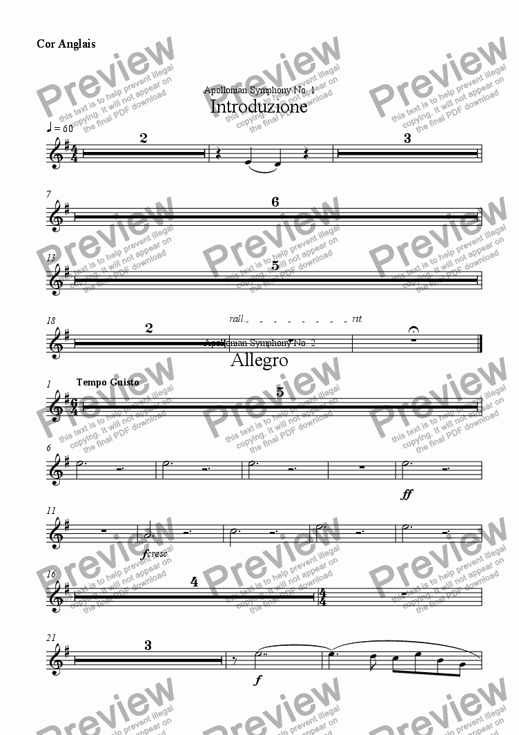 page one of the Cor Anglais part from Introduzione
