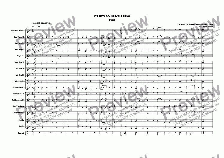 page one of the Full Score part from We have a gospel to declare