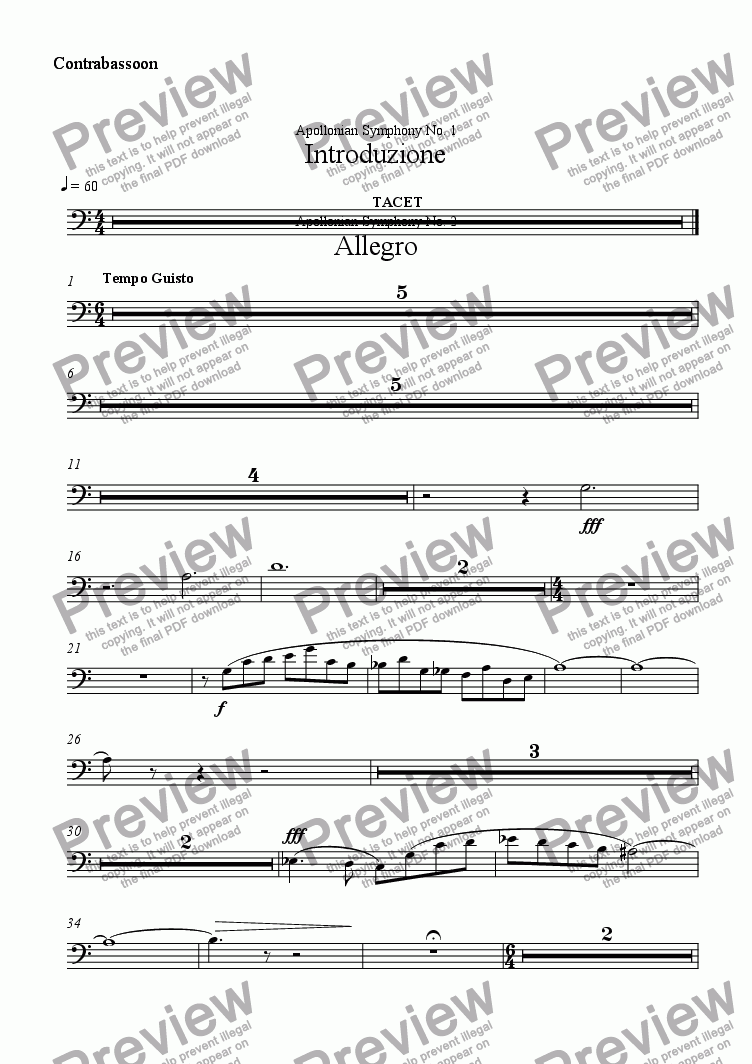 page one of the Contrabassoon part from Introduzione
