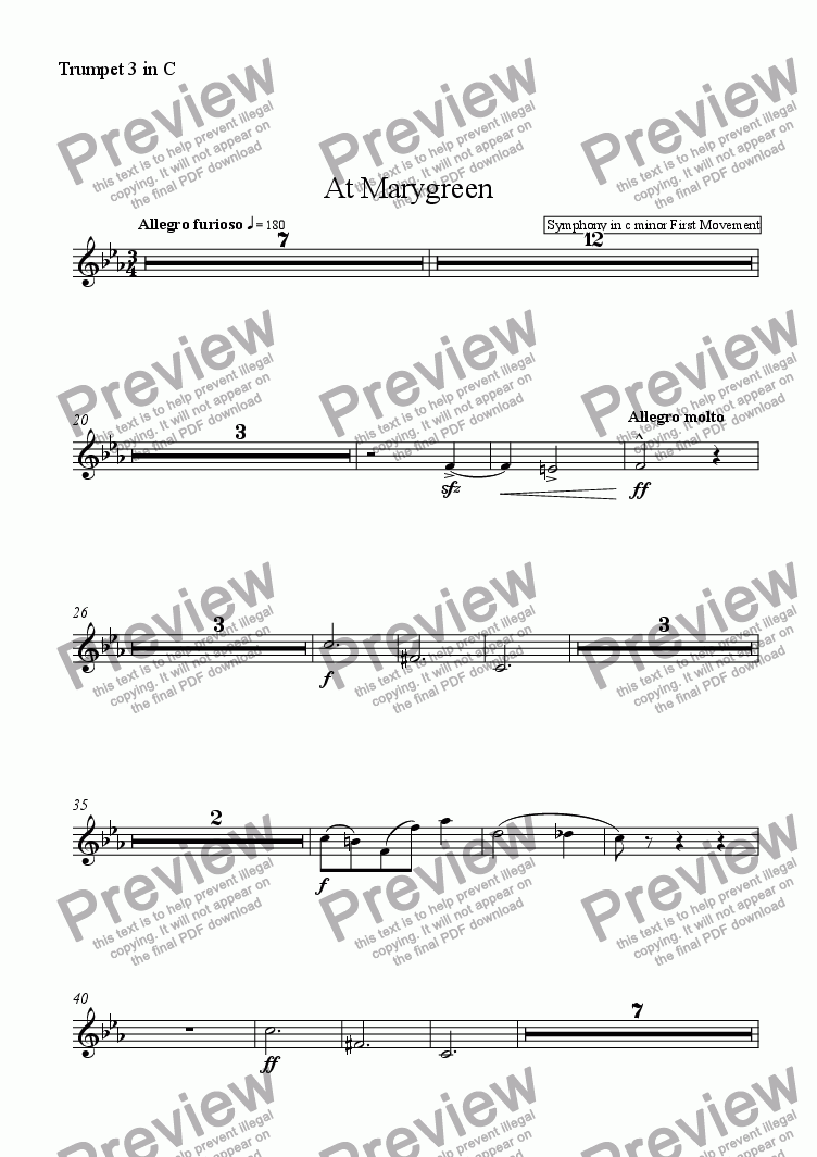 page one of the Trumpet 3 in C part from At Marygreen