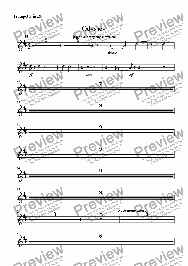 page one of the Trumpet 3 in B^b part from Odyssey