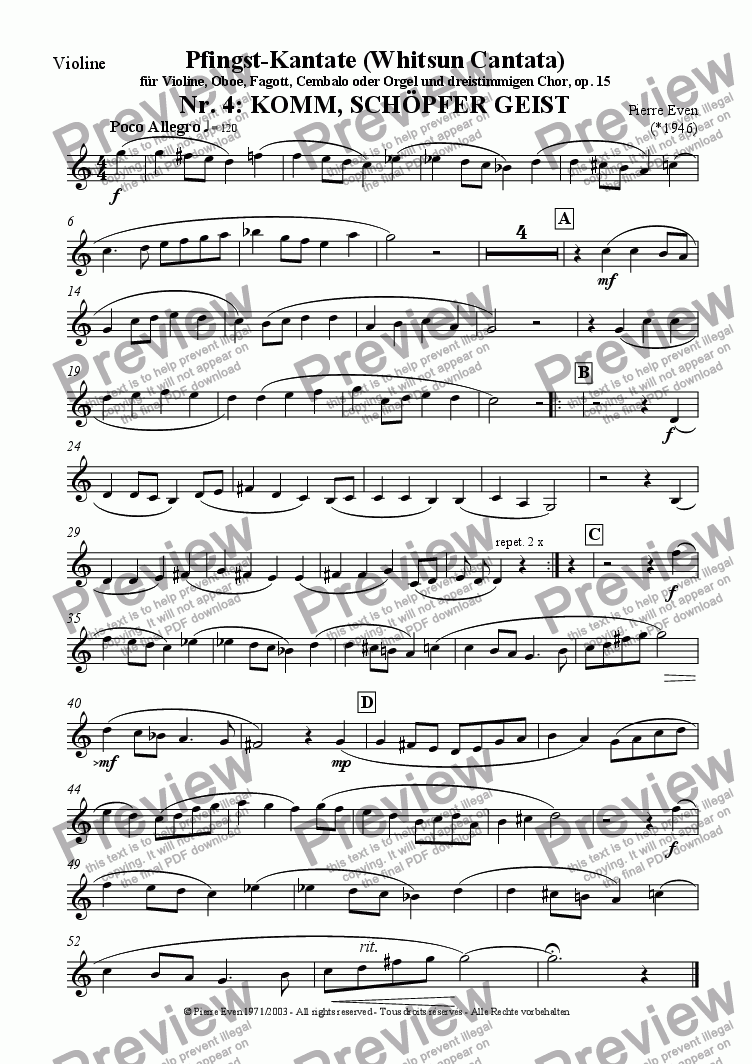 page one of the Violin part from Komm Schoepfer Geist - for Violin, Oboe, Bassoon and SAB-Choir, from the Whitsun Cantata op. 15, Nr. 4