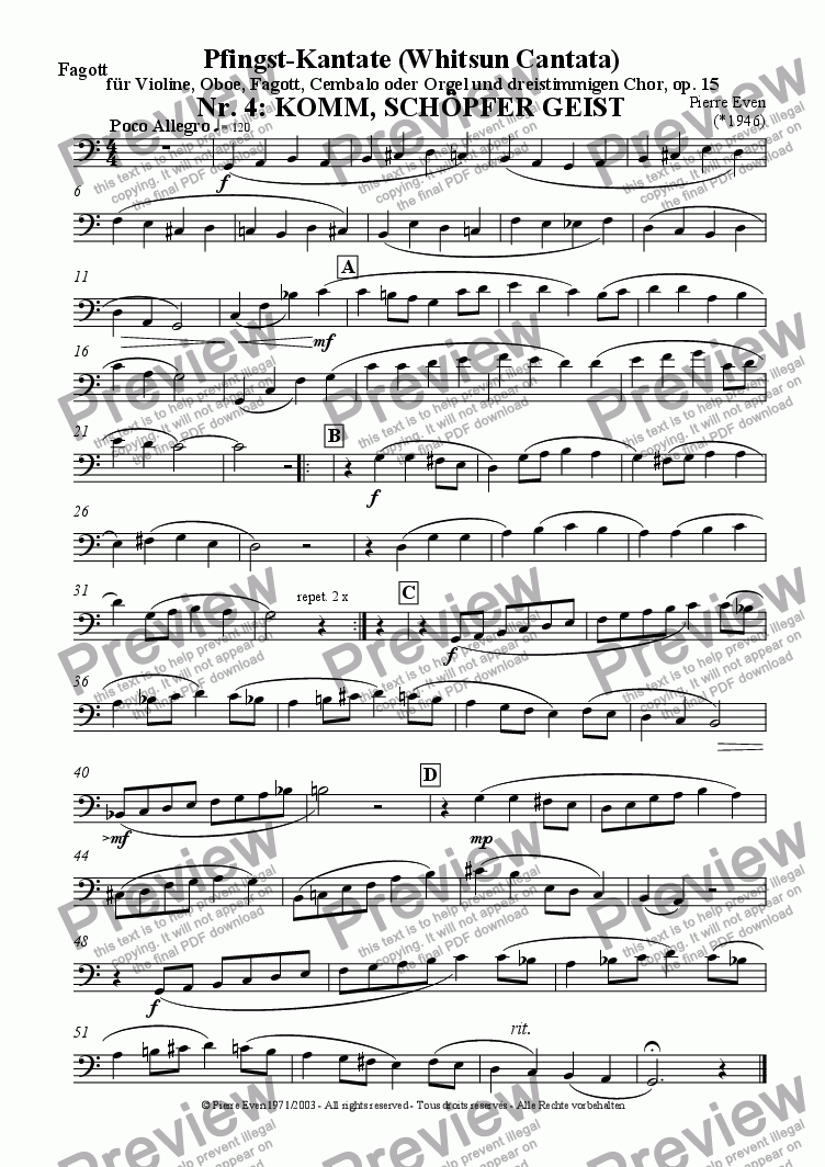 page one of the Bassoon part from Komm Schoepfer Geist - for Violin, Oboe, Bassoon and SAB-Choir, from the Whitsun Cantata op. 15, Nr. 4