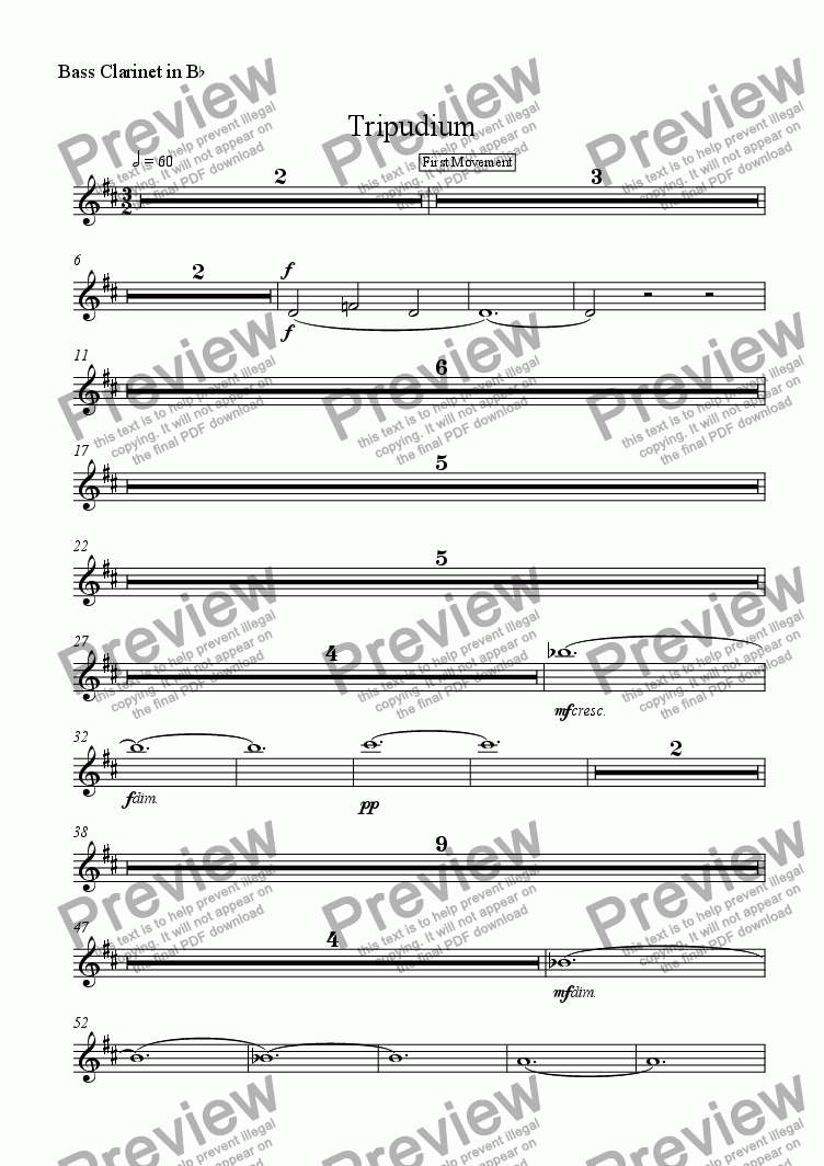 page one of the Bass Clarinet in B^b part from Tripudium