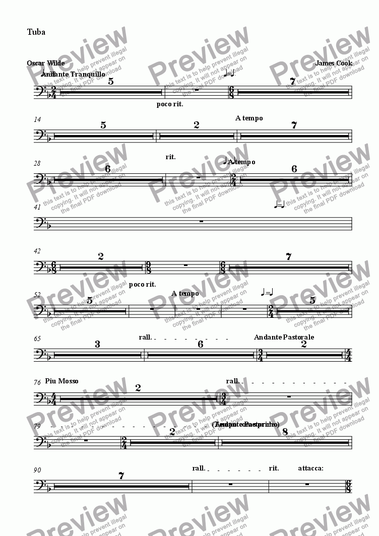 page one of the Tuba part from Magdalen Walks