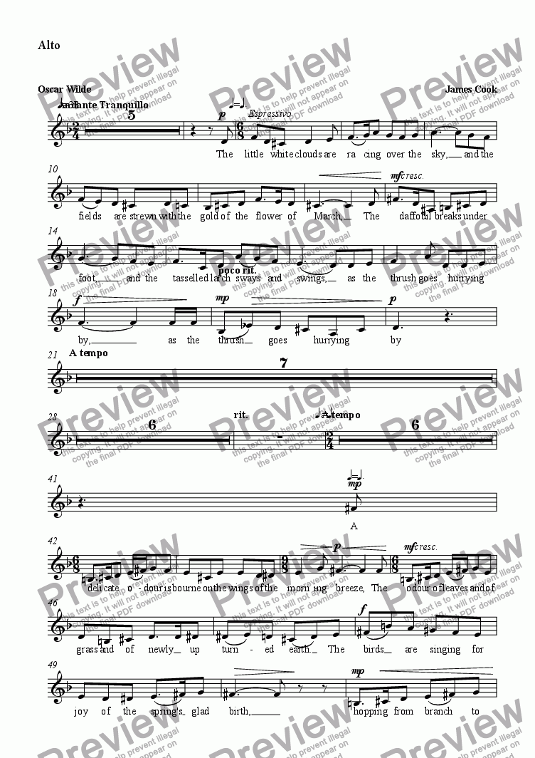 page one of the Alto part from Magdalen Walks