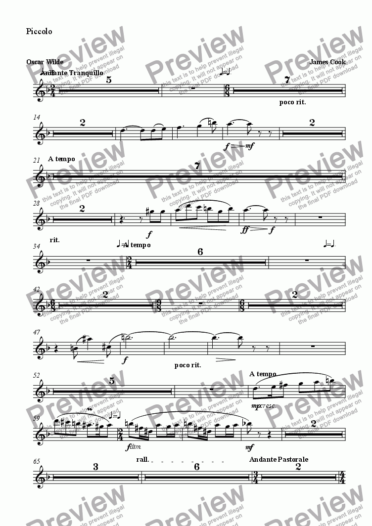 page one of the Piccolo part from Magdalen Walks