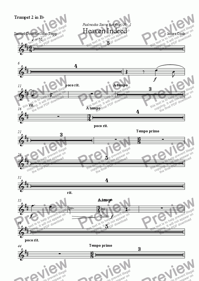 page one of the Trumpet 2 in B^b part from Heaven Indeed