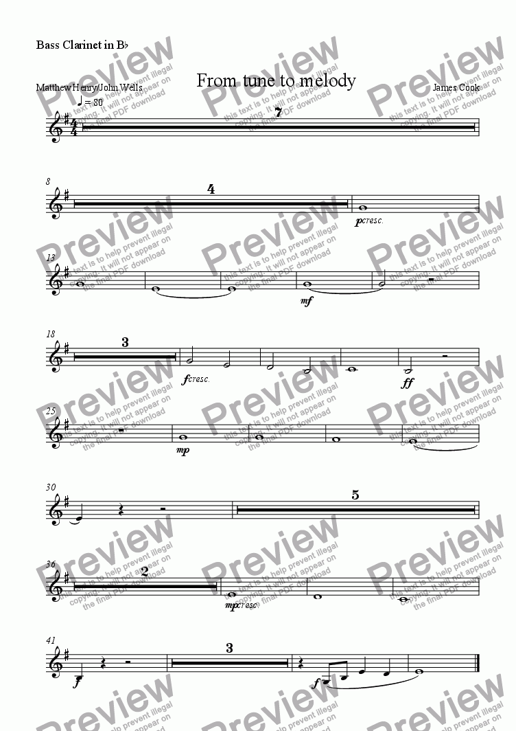 page one of the Bass Clarinet in B^b part from From tune to melody