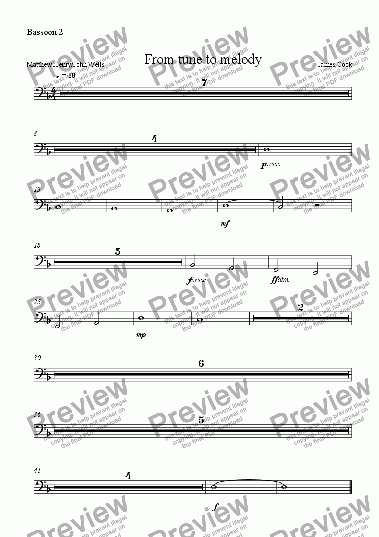 page one of the Bassoon 2 part from From tune to melody