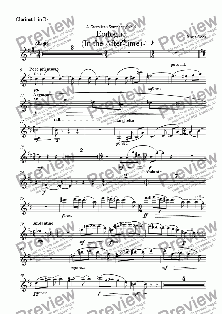 page one of the Clarinet 1 in B^b part from Epilogue  (In the After-time)