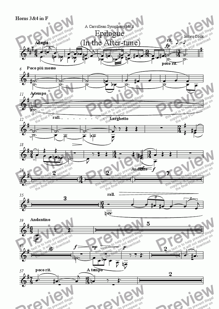page one of the Horns 3&4 in F part from Epilogue  (In the After-time)