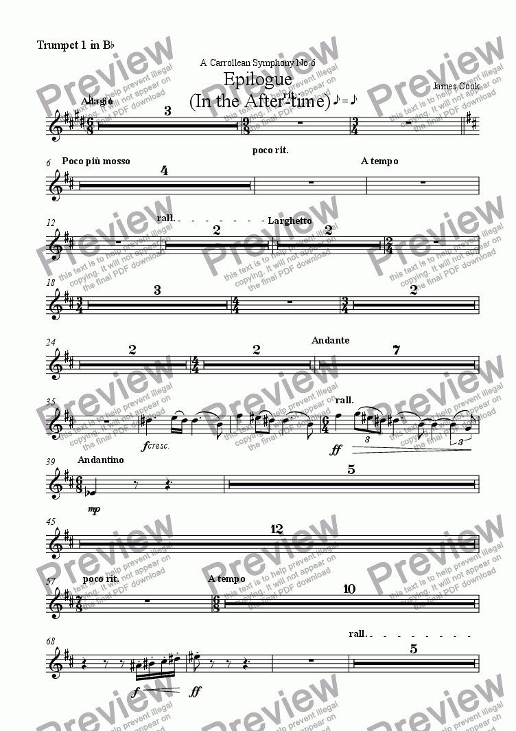 page one of the Trumpet 1 in B^b part from Epilogue  (In the After-time)
