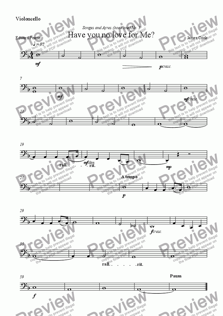 page one of the Violoncello part from Have you no love for Me?