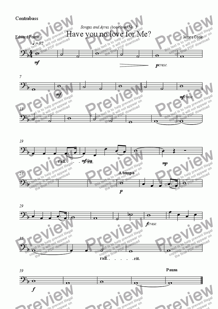 page one of the Contrabass part from Have you no love for Me?