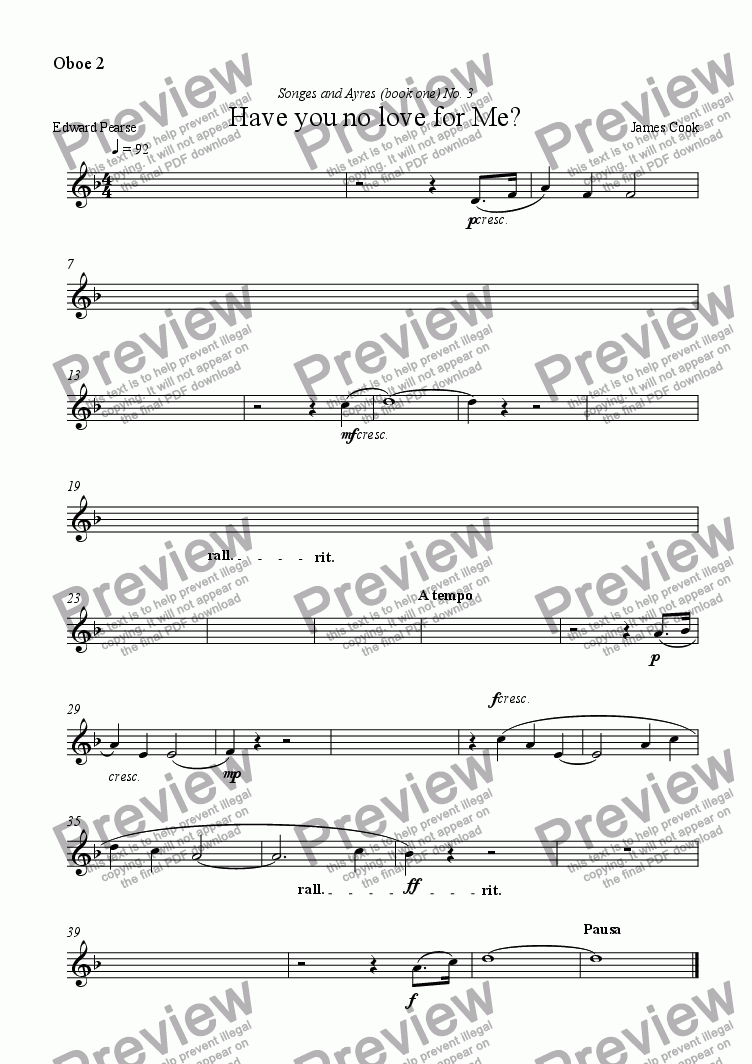 page one of the Oboe 2 part from Have you no love for Me?