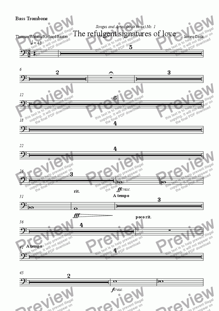 page one of the Bass Trombone part from The refulgent signatures of love