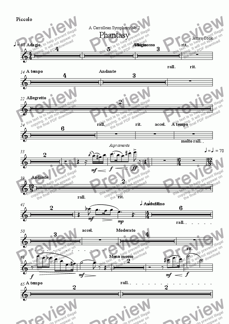 page one of the Piccolo part from Phantasy