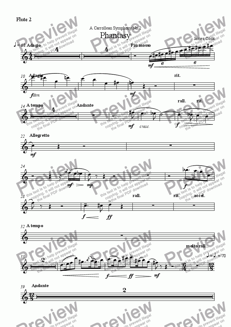 page one of the Flute 2 part from Phantasy