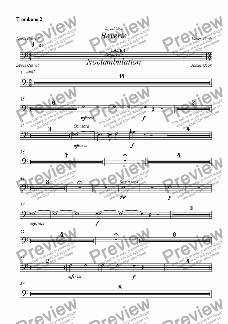 page one of the Trombone 2 part from Reverie