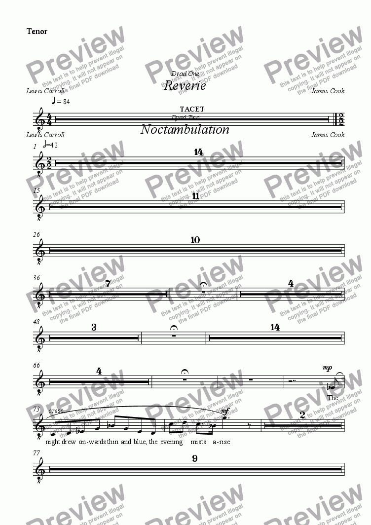 page one of the Tenor part from Reverie
