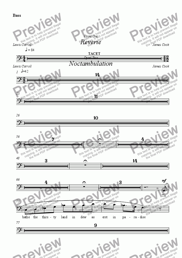 page one of the Bass part from Reverie
