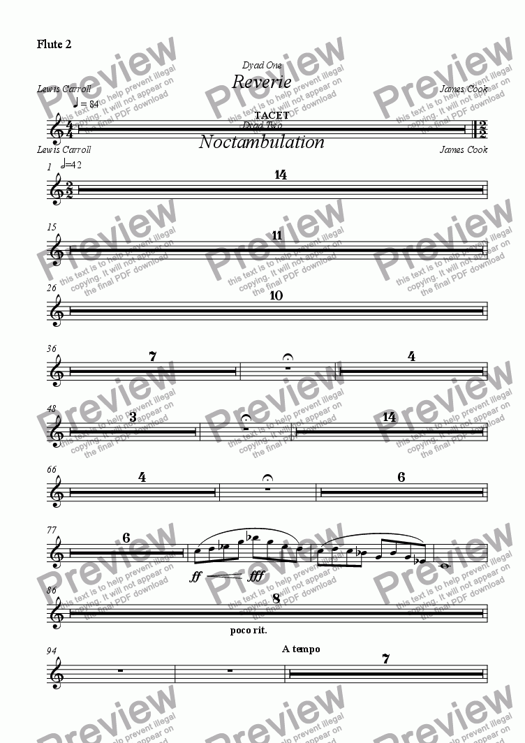page one of the Flute 2 part from Reverie