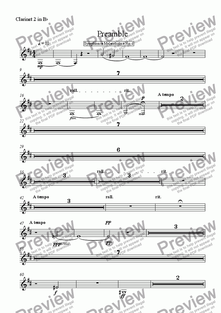 page one of the Clarinet 2 in B^b part from Preamble