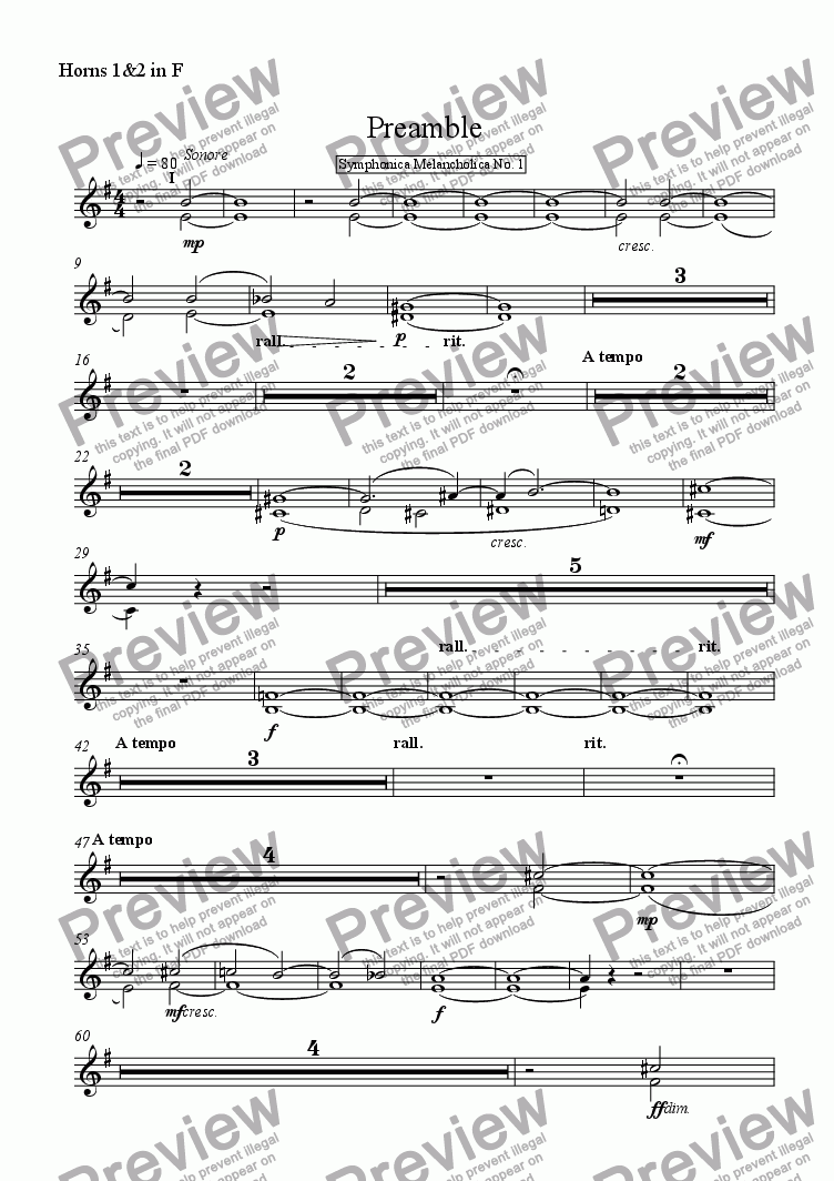 page one of the Horns 1&2 in F part from Preamble