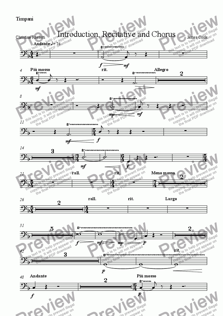 page one of the Timpani part from Introduction, Recitative and Chorus