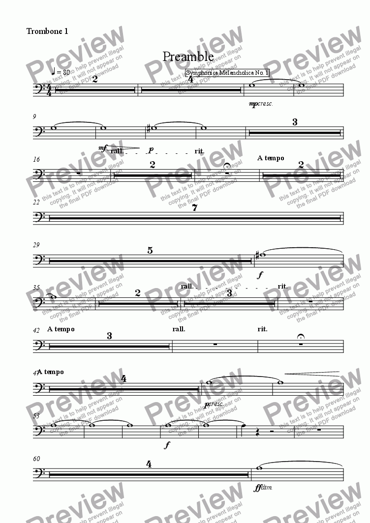 page one of the Trombone 1 part from Preamble