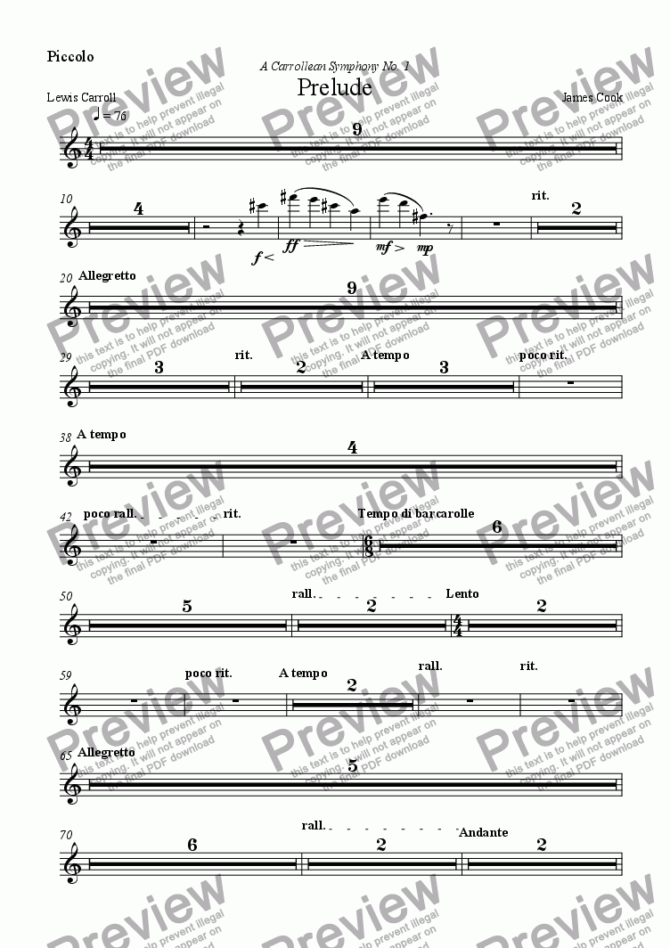 page one of the Piccolo part from Prelude