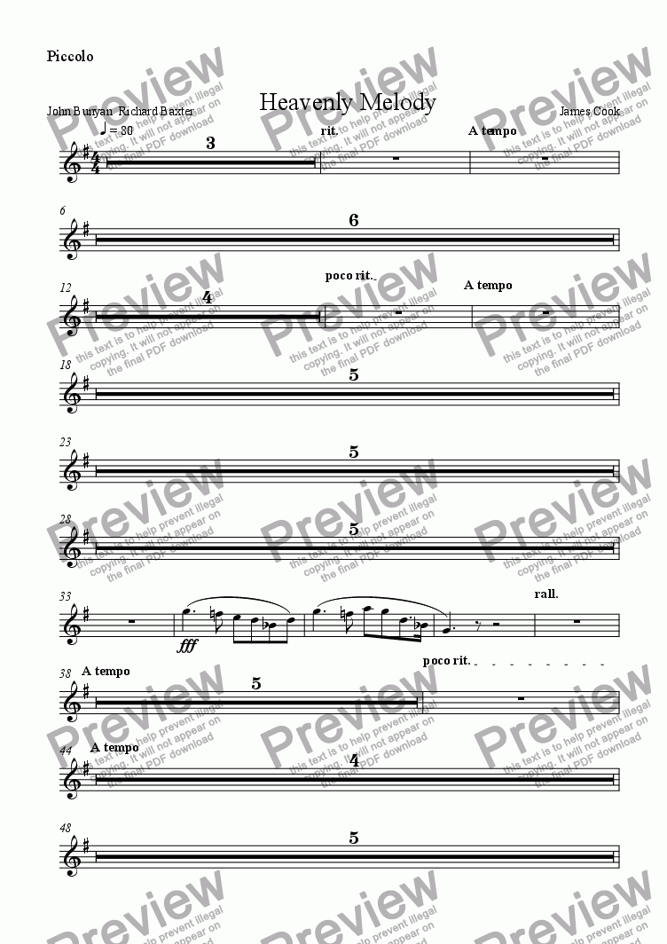 page one of the Piccolo part from Heavenly Melody