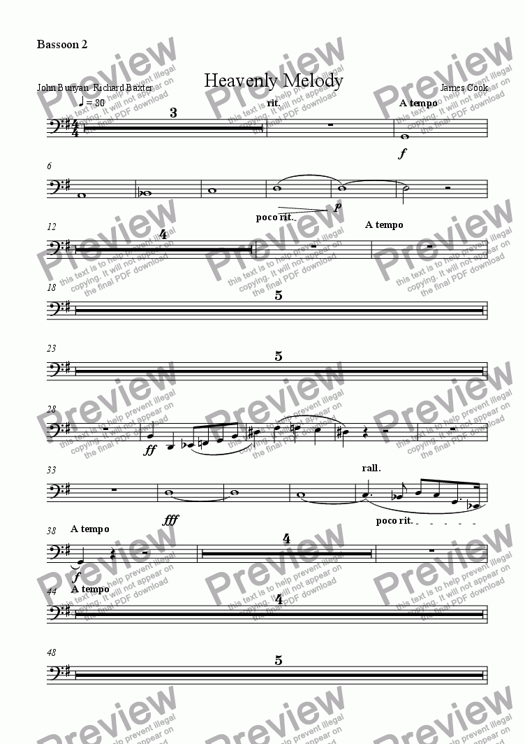 page one of the Bassoon 2 part from Heavenly Melody