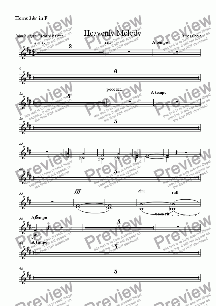 page one of the Horns 3&4 in F part from Heavenly Melody