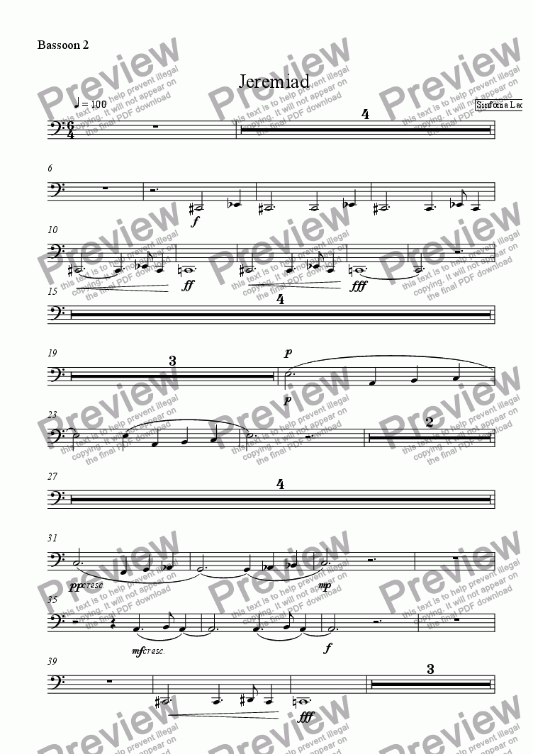 page one of the Bassoon 2 part from Jeremiad