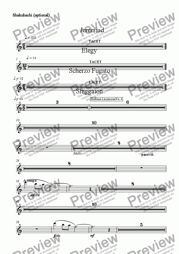 page one of the Shakuhachi (optional) part from Jeremiad