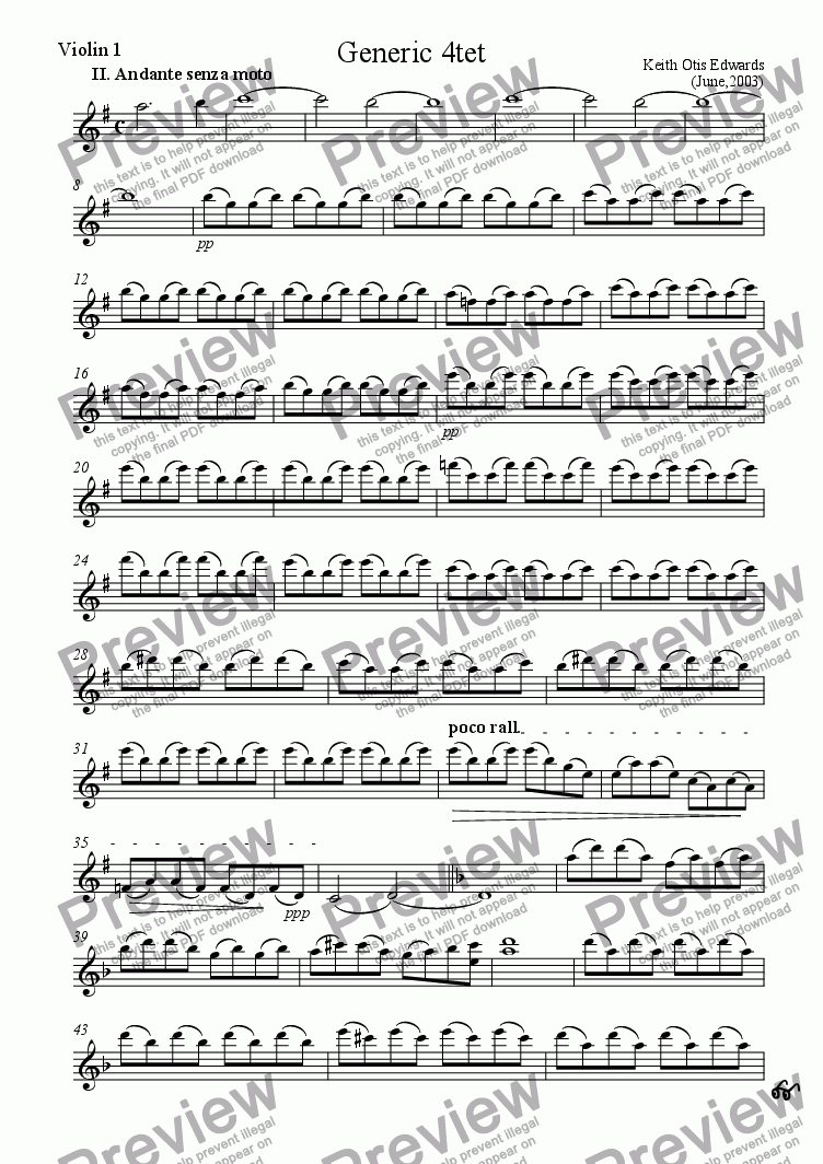 page one of the First Violin part from String Quartet in D - 2. Andante